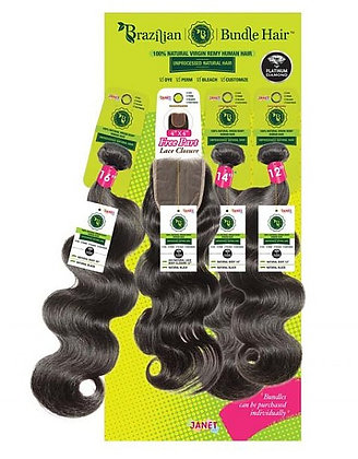 Janet Collection Bundle Natural Body Wave with Lace Closure Human Hair Weave