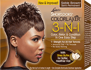 Luster's Pink Shortlooks Colorlaxer 3-N-1 Color, Relaxer & Condition Kit Brown