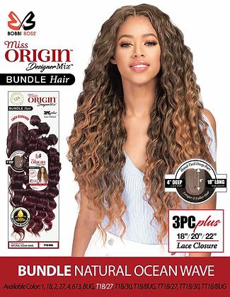 "Bobbi Boss Miss Origin 3PC Ocean Wave 18""20""22"" + Closure Human Hair Blend Weave"