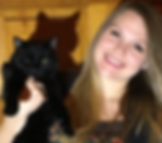blonde woman with her black cat