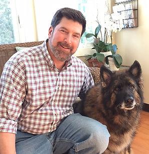 male veterinarian with german shephard