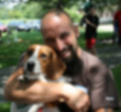 Male mid 30s with beagle