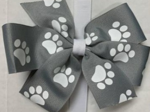 Spirit Bow - Grey with Paw Print (Small)
