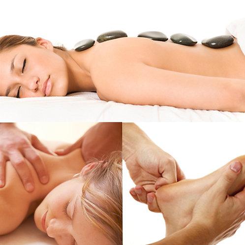 Hot Stones + Massagem 1h (a escolher) + Reflexologia 30´