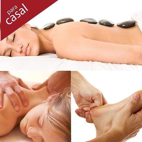 Hot Stones + Massagem 1h (a escolher) + Reflexo 30min (casal)