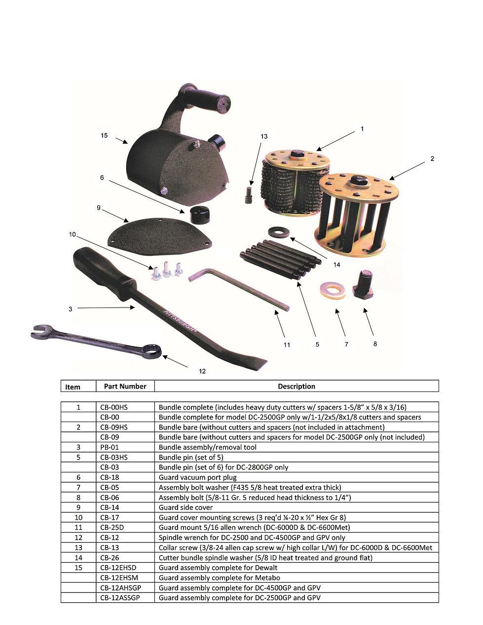 DC-2500GP Attachment Parts Schematic