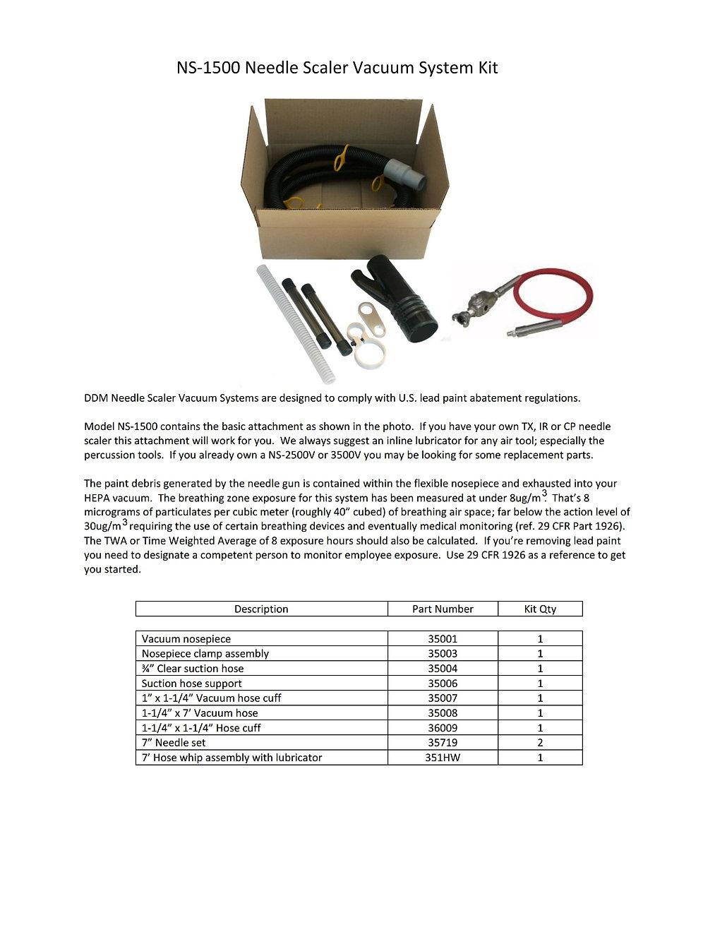 NS-1500 Needle Scaler Vacuum Attachment