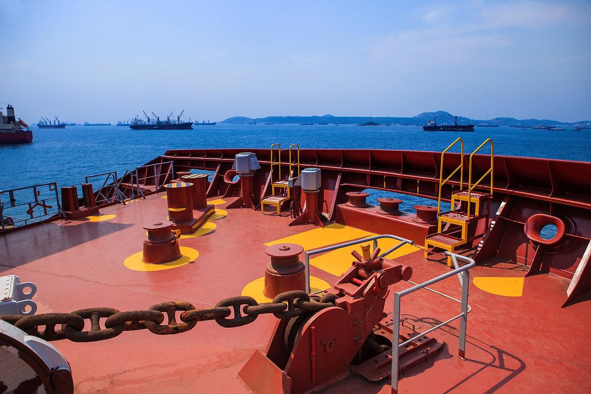 Ship anchored at sea