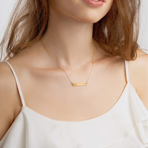 2020 Roman Numeral - Bar Chain Necklace