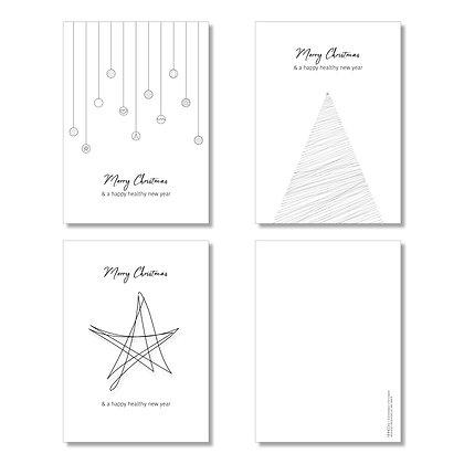 Christmas cards MIX-set (15 pcs – 5 per design) incl. recycled envelopes