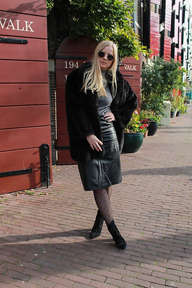 Patched Slit Leather Skirt