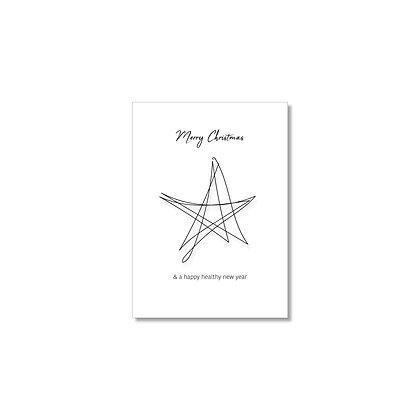 """Kerstkaart """"STARS"""" (10 stuks) incl. gerecyclede enveloppen"""