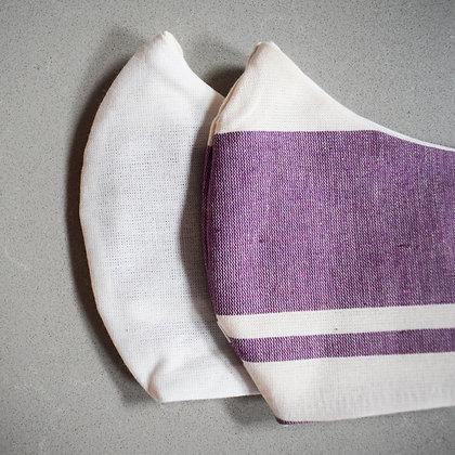 Uni White x Purple Stripe Mix | Reversible mondkapje