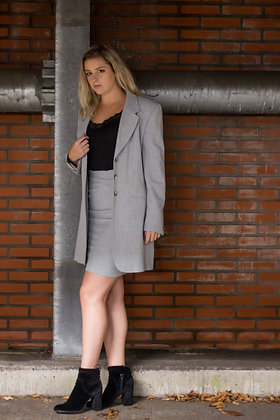 Grey Striped Long Blazer