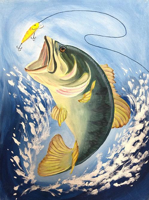 Bass Fishing Painting