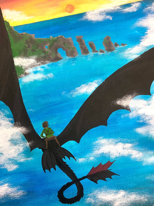 Toothless and Hiccup Painting