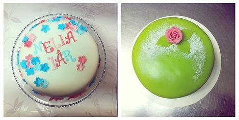 Födelsedastårta och prinsesstårta