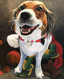 """Maggie"" by Landay; painting of a eager, happy dog"
