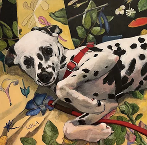 "Painting ""Lola"" by Landay. Lola is a dalmation"