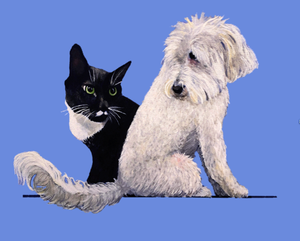 """Lila and Buster"" by Landay; painting of the artist's cat and dog"