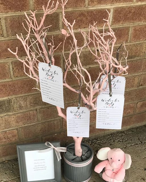 pink and grey baby shower tree
