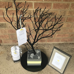 grey/black/yellow baby shower tree