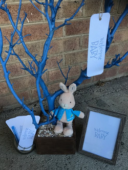blue and brown baby shower tree