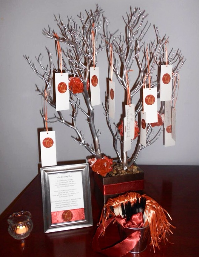 Silver Tree with orange accents