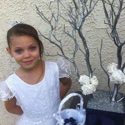 Flower girl with silver tree