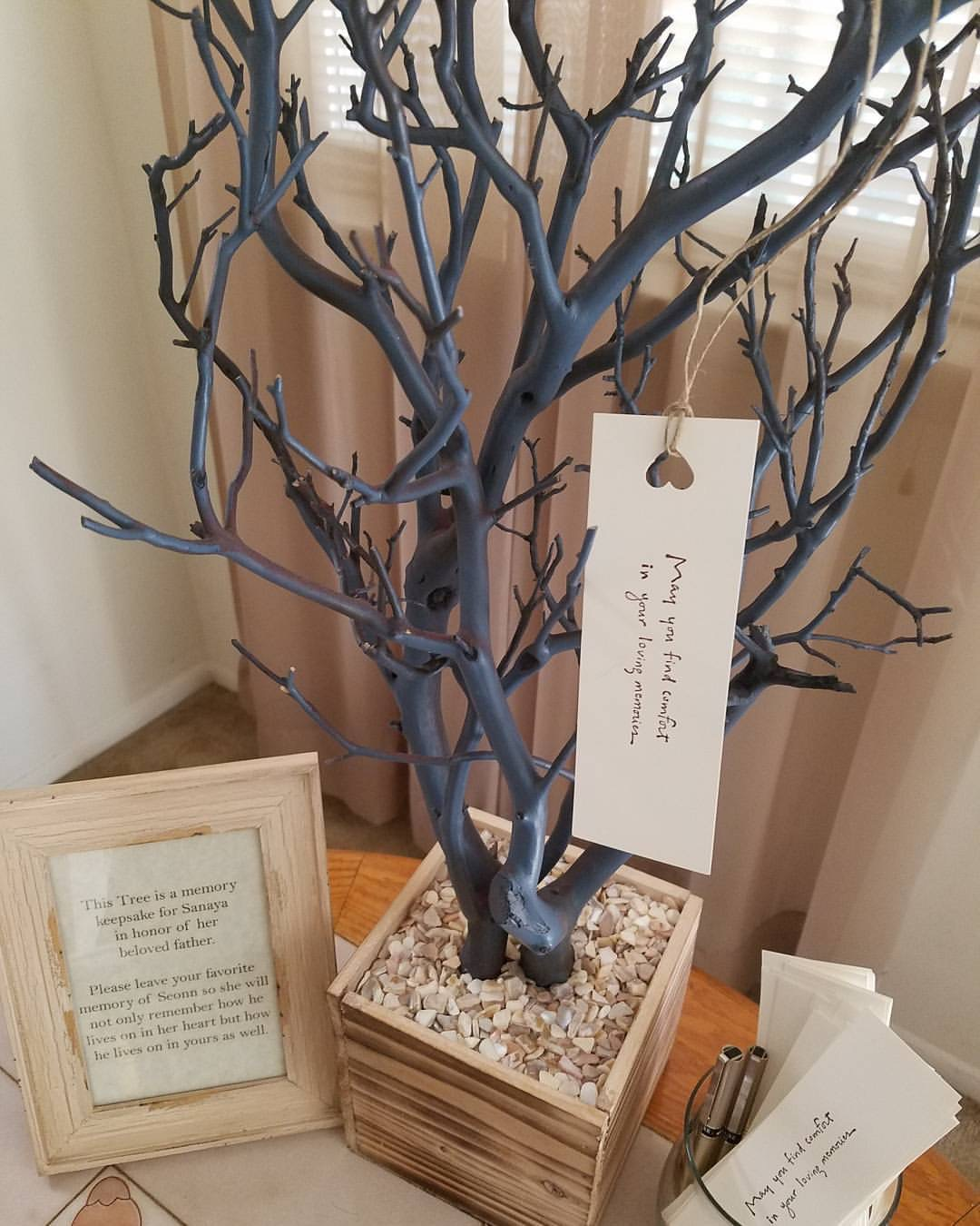blue and naural themed memory tree