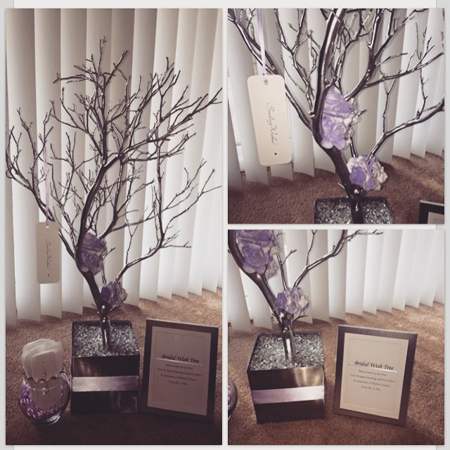 Silver tree with purple accents