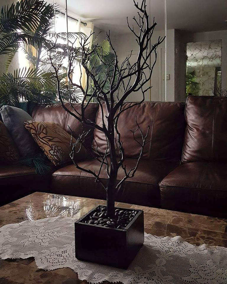 all black tree with black base