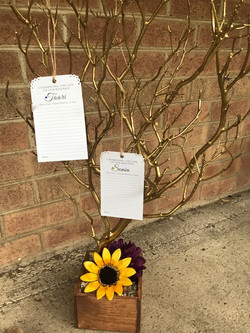 purple and sunflower memory tree