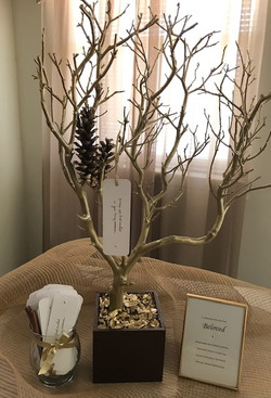 gold and brown themed memory tree
