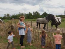 Buiten spelen - paardjes kijken