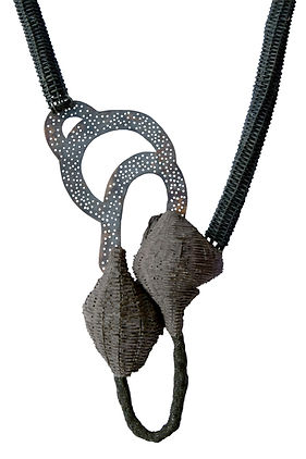 "Necklace ""Where I come from, the sand is black"" Irene G. Barrera"