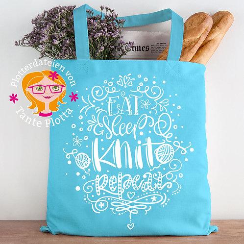 """Plotterdatei """"Eat Sleep Knit Repeat"""""""