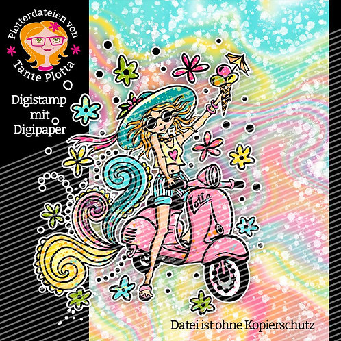 "Digistamp + Digipaper ""Lotta fährt Vespa"""