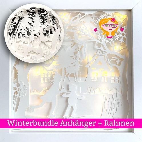 "Plotterdatei ""Winterbundle"" Anhänger + Rahmen"