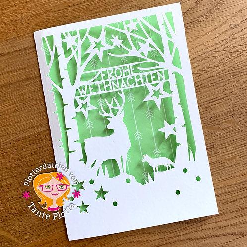 """Plotterdatei Weihnachtskarte """"Wald"""""""