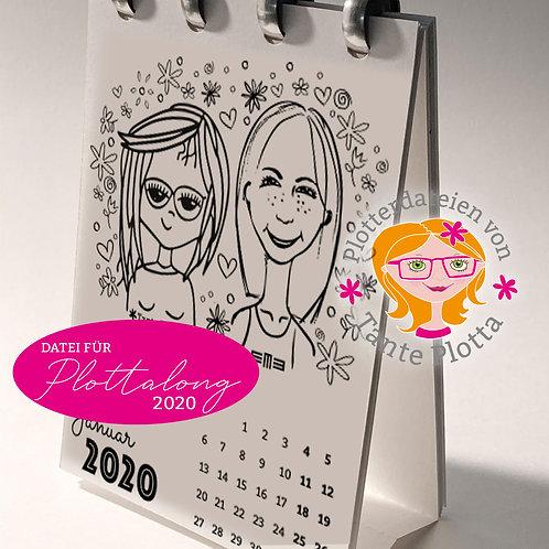 Plotterdatei Tischkalender 2020 zum Selbstgestalten