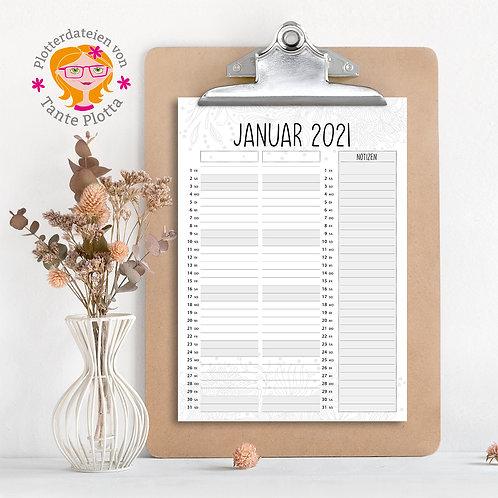 """Datei zum Ausdrucken """"2021 Partnerplaner für 2"""""""