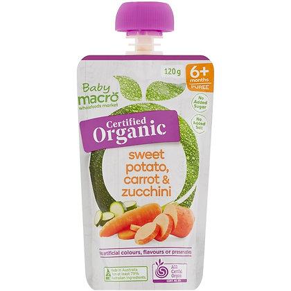 Macro Organic 6 Months+ Sweet Potato Carrot & Zucchini 120g