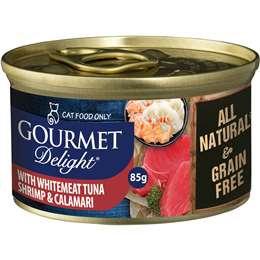 Gourmet Delight Adult Cat Food Whitemeat Tuna Shrimp Calamari 85g
