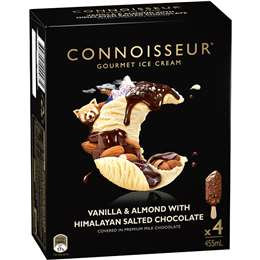 Connoisseur Ice Cream Chocolate Vanilla Almond 4 pack