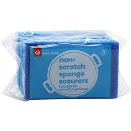 Essentials Non Scratch Sponge Scourers 3 pack