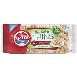 Tip Top Sandwich Thins Lightly Seeded 6 pack