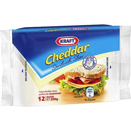 Kraft Cheddar Sandwich Slices 12pk 250g