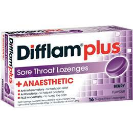 Difflam Plus Sore Throat Lozenges Black Current Anaesthetic 16 pack
