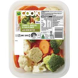 Woolworths Cook Cauliflower Broccoli & Carrot With Herb Butter 200g